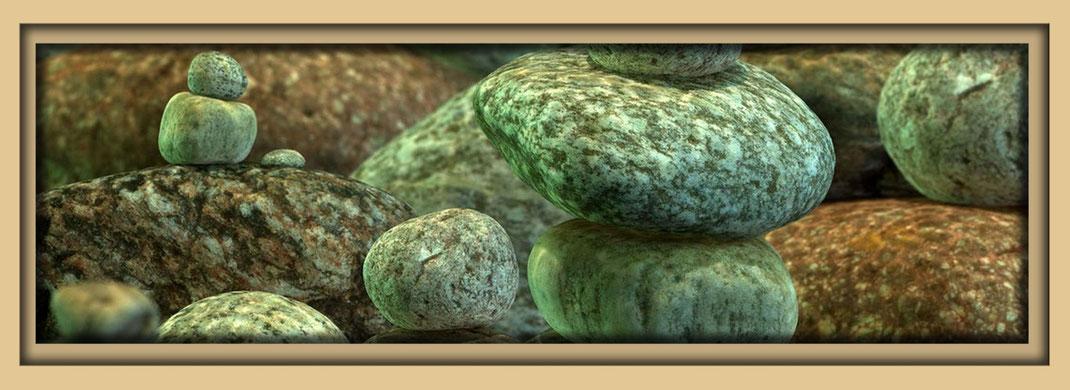 Eien Unterwasserwelt mit Steinen. Steine, Steintürme, Steinbilder des Künstlers Marcue Löhrer auf der Aachener Kunstroute 2016