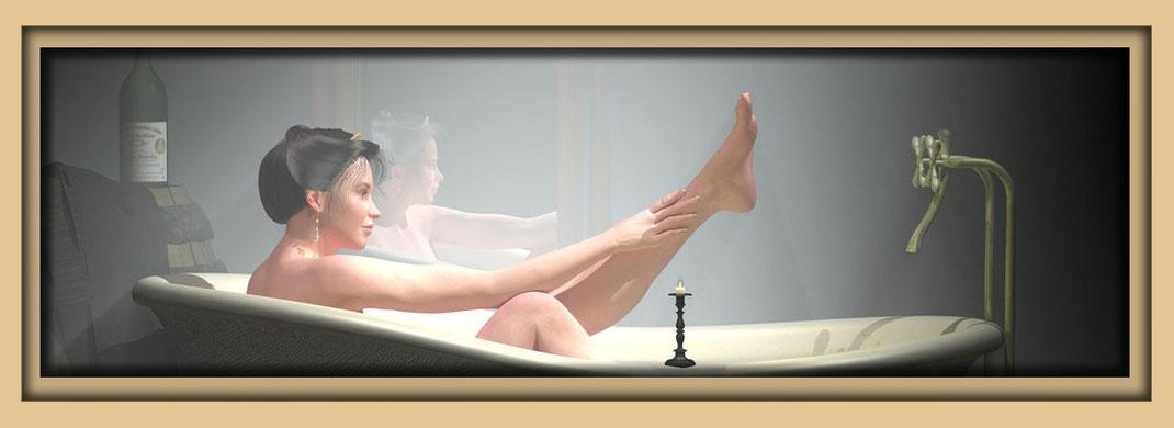 """Akt """"Das Mädchen mit dem Perlenohrring im Bad"""". Digital art 3D Bild des Künstlers Marcus Löhrer auf der Aachener Kunstroute 2016 in der Galerie Frutti dell'Arte und in der Aula Carolina."""