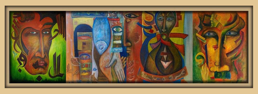 Ibrahim Alawad mit Malerei verteten in der Galerie Frutti dell'Arte auf der Aachener Kunstroute 2016 am 23., 24. und 25. September