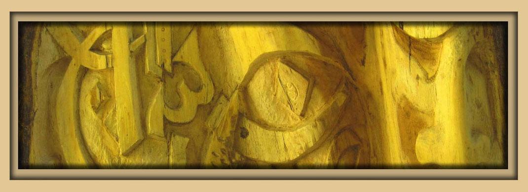 Holzrelief des syrischen Künstlers Ibrahim Alawad. Skulptur und Malerei auf der Aachener Kunstroute 2015 in der Galerie Frutti dell'Art am 23., 24. und 25. September 2016.