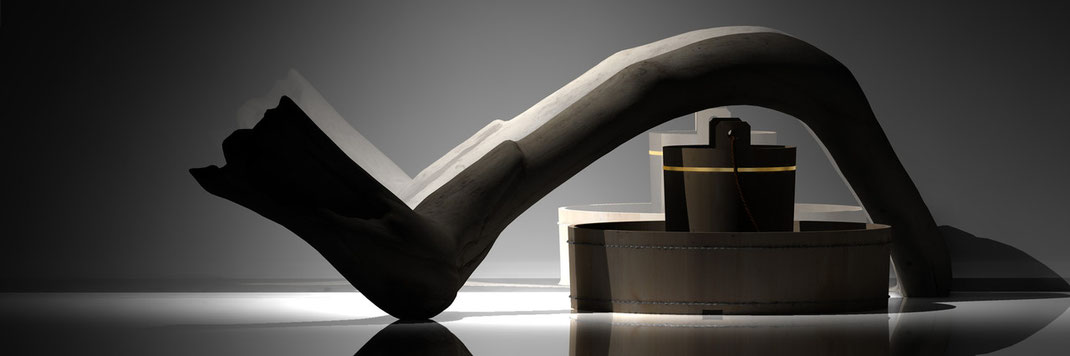 ein Stück angestrandetes Holz mit asiatischem Badezubehör. Bilder des digital art 3d Künstlers Marcus Löhrer auf der Aachener Kunstroute 2015.