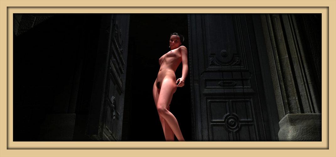 Bildnis einer nackten jungen frau in einer alten  Tür stehend. Digitale Aktbilder von Marcus Löhrer am 22., 23. und 24. September auf der Aachener Kunstroute 2017 in der Galerie Frutti dell`Arte