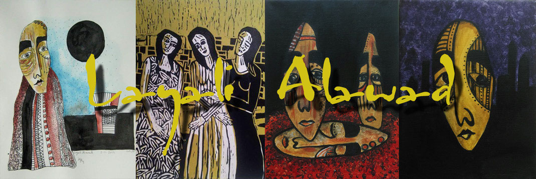 Arbeiten auf Leinwand und Papier der Aachener Künstlerin und Grafikerin Layali Alawad. Auf der Aachener Kunstroute 2015 zu sehen in der Galerie Frutti dell'Arte, Station 20.