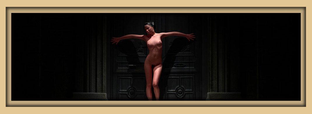 Bild einer nackten Frau vor einem alten Hauseingang.. Aktbilder des digital art 3d Künstlers Marcus Löhrer in der Galerie Frutti dell Arte, verteten auf der Aachener Kunstroute 2019 Station27.