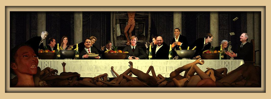 """L'Ultima Cena, Jorge Mario Bergoglio, auf der Ausstellung """"Spektrum"""" in der Aula Carolina während der Aachener Kunstroute 2019"""