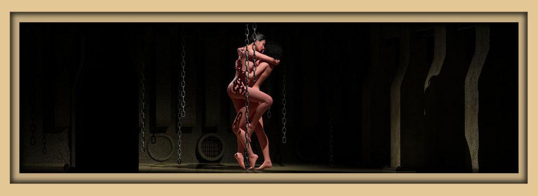 Weibliche Akte in Fabrikhalle des digital art Künstlers Marcus Löhrer. Auf der Aachener Kunstroute 2019 am 27., 28, und 29. September sind einige seiner Werke in der Galerie Frutti dell'Arte in Aachen zu sehen.