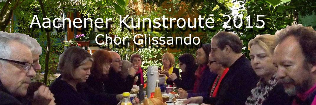 Bild vom Chor Glissando der auf der Aachener Kunstroute 2015 in der Galerie Frutti dell'Arte,r Viktoriastrasse 24 in Aachen wieder ein Ständchen im Grünen singen wird.