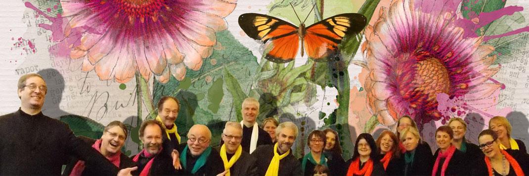 Chor Glissando vor buntem Blumenbild am 27. September auf der Aachener Kunstroute 2015 in der Galerie Frutti dell'Arte.