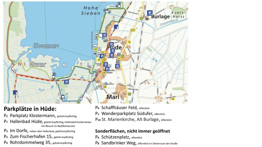 Auf einer Karte ist Hüde mit einem Teil des Dümmer-Sees zu sehen, auf der Parkplätze eingezeichnet sind.