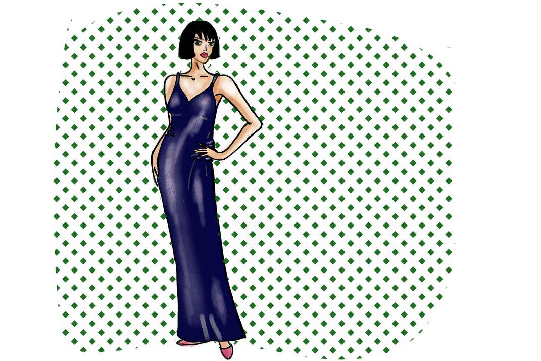 Slip -Dress: Glanzmaterialien wirken zart und plastisch. Glanz Effekte heben optisch hervor.