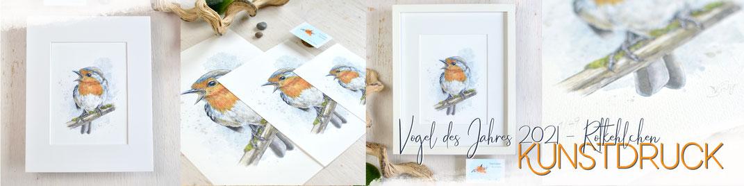 Vogel des Jahres Kunstdruck - Rotkehlchen - Gartenvogel