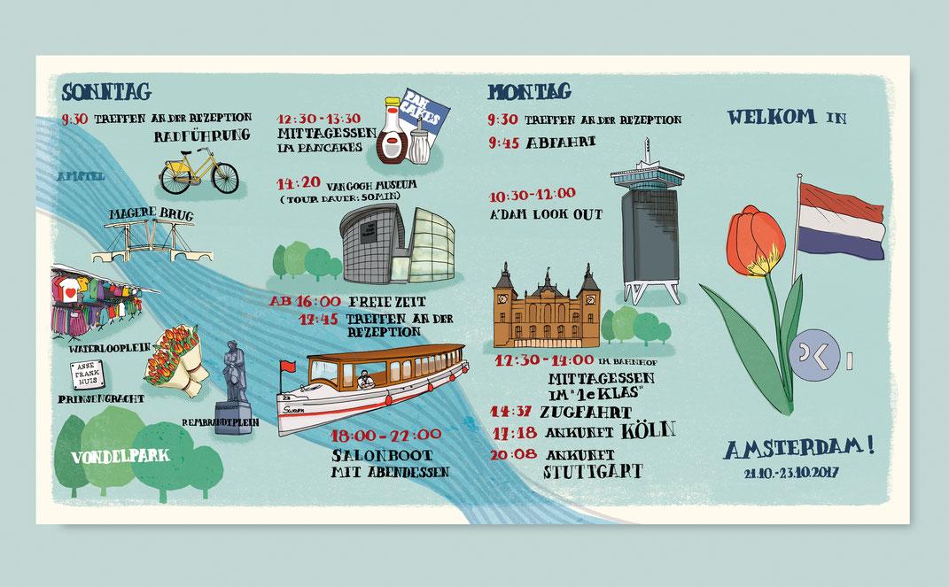 Faltblatt mit Illustrationen für das Ingenieurbüro Pfeil & Koch aus Köln