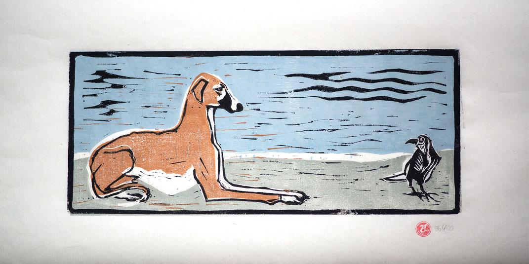 Linocut Linoldruck Azawakh handgemacht  Weihnachtsgeschenk Geschenkidee Geschenk