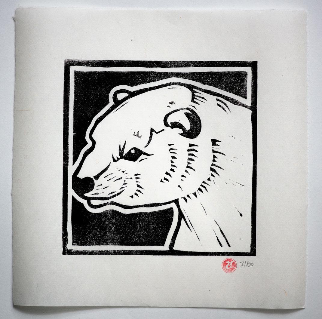 Linocut Linoldruck Eisbär handgemacht  Weihnachtsgeschenk Geschenkidee Geschenk