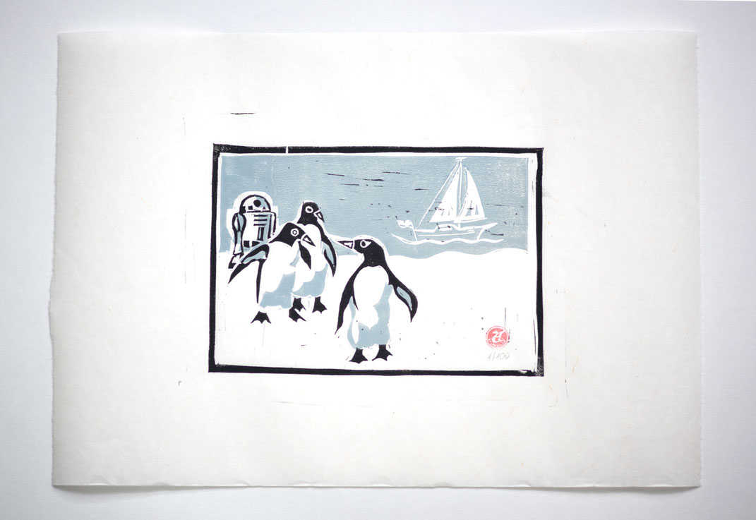 Linocut Linoldruck Pinguin R2D2 handgemacht  Weihnachtsgeschenk Geschenkidee Geschenk