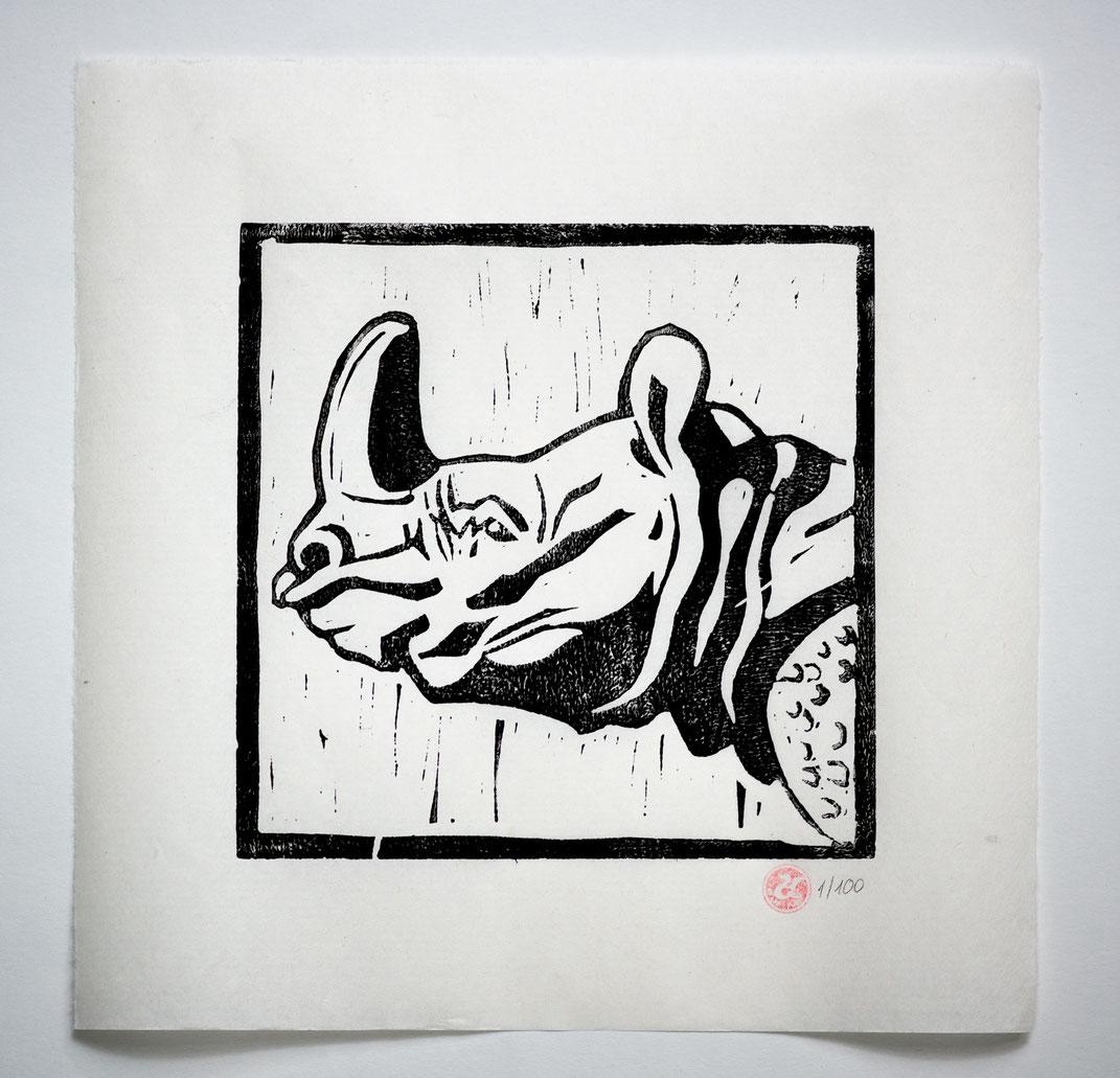 Linocut Linoldruck Nashorn handgemacht  Weihnachtsgeschenk Geschenkidee Geschenk