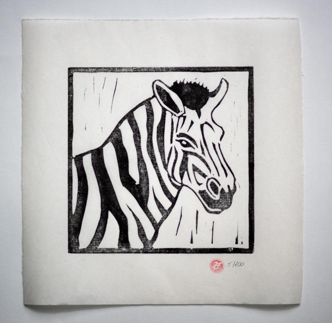 Linocut Linoldruck Zebra handgemacht  Weihnachtsgeschenk Geschenkidee Geschenk