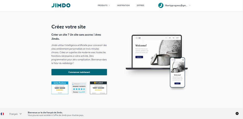 jimdo créateur de site internet