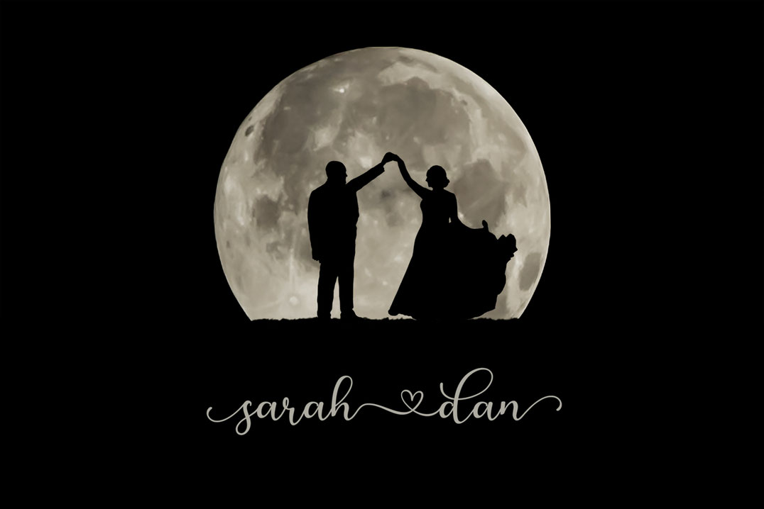 Bride and groom in silhouette in front of a large full moon. Bride is wearing a dress. Groom is wearing a suit. They are dancing.