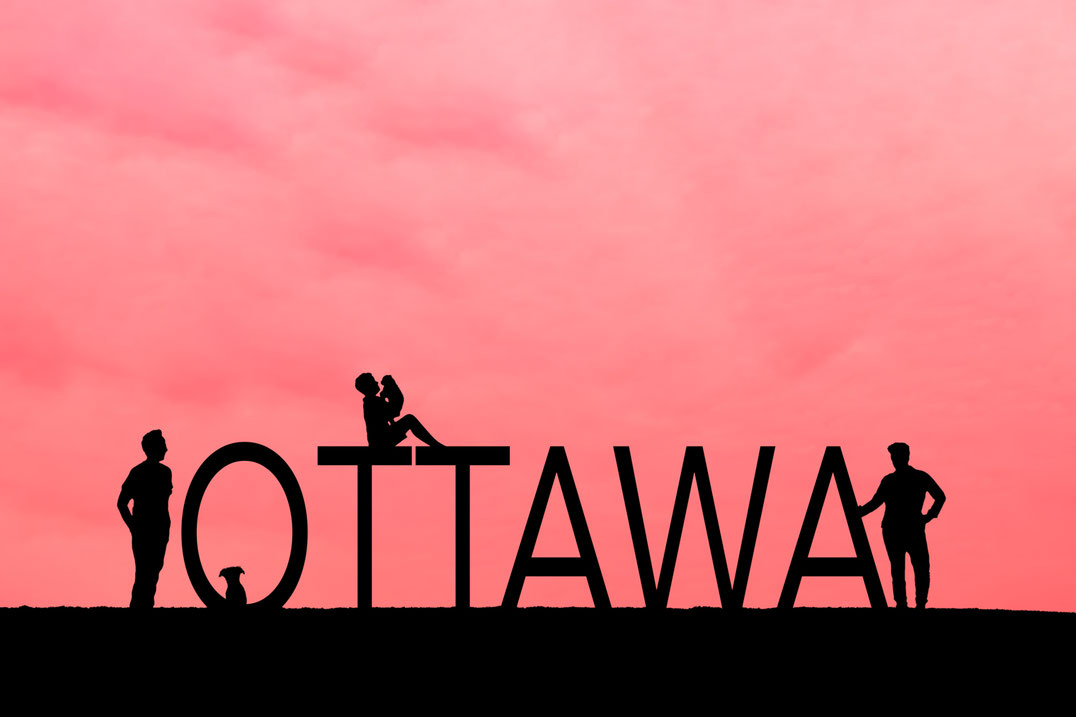 Pink sky with silhouettes of a two mom, two dog, one child family and the word ottawa in block letters. Son is holding one dog.