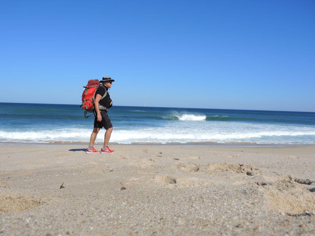 Wo möglich nutze ich die Gelegenheit direkt am Strand zu gehen.