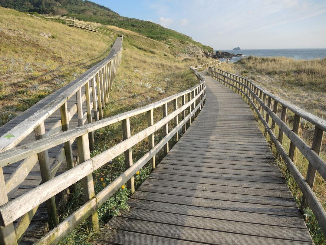 Mein Caminho Portugues begann am Steg von Purto und endet am Steg von Strand in Finisterre.