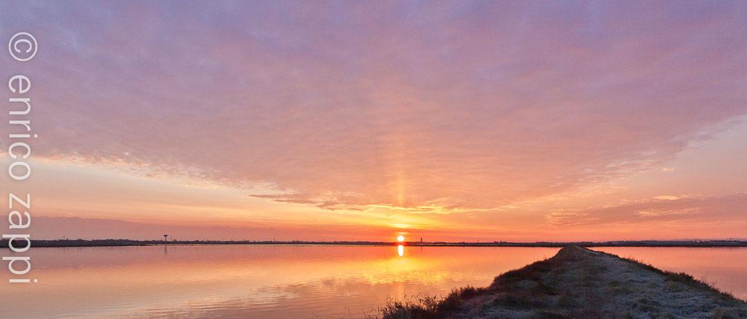 Saline di Cervia: alba invernale.