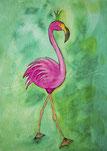 Postkarte, Grußkarte mit Illustration Flamingo in Pink mit Krone auf grünem Hintergrund von silvanillion