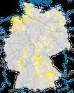Karte zur Verbreitung des Blaukehlchens in Deutschland während der Brutzeit.