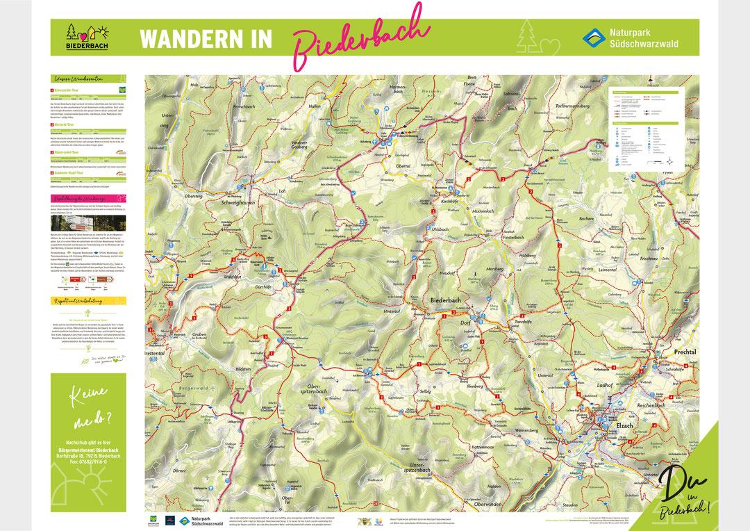 Wandertafel der Gemeinde Biederbach im Zweitälerland
