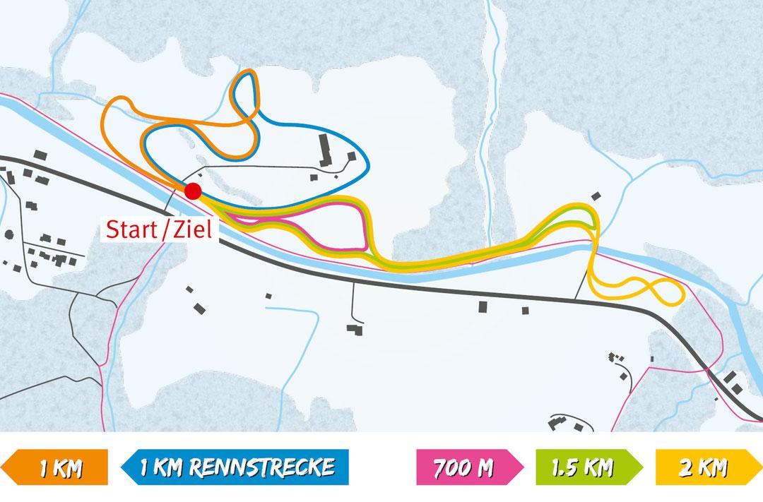 Loipenplan Langlaufloipe Alpthal - Davon sind 3 km auf flachem bis mittelschwerem Gelände und 1.2 km auf anspruchsvollerem Gelände.