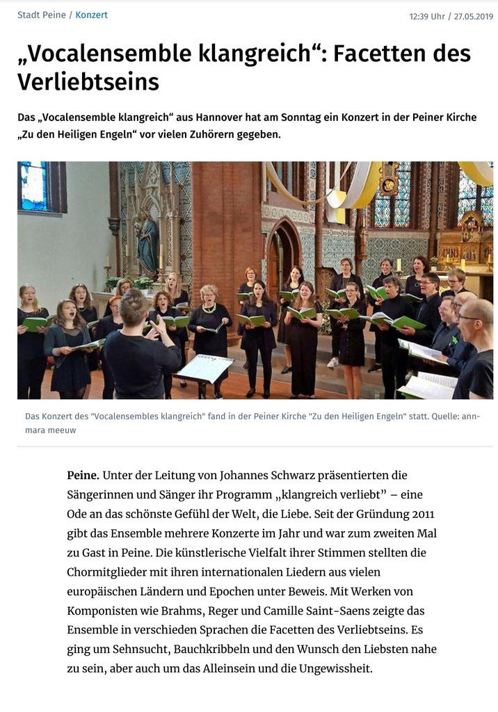 https://www.paz-online.de/Stadt-Peine/Vocalensemble-klangreich-Facetten-des-Verli..., Abgerufen 28.5.19