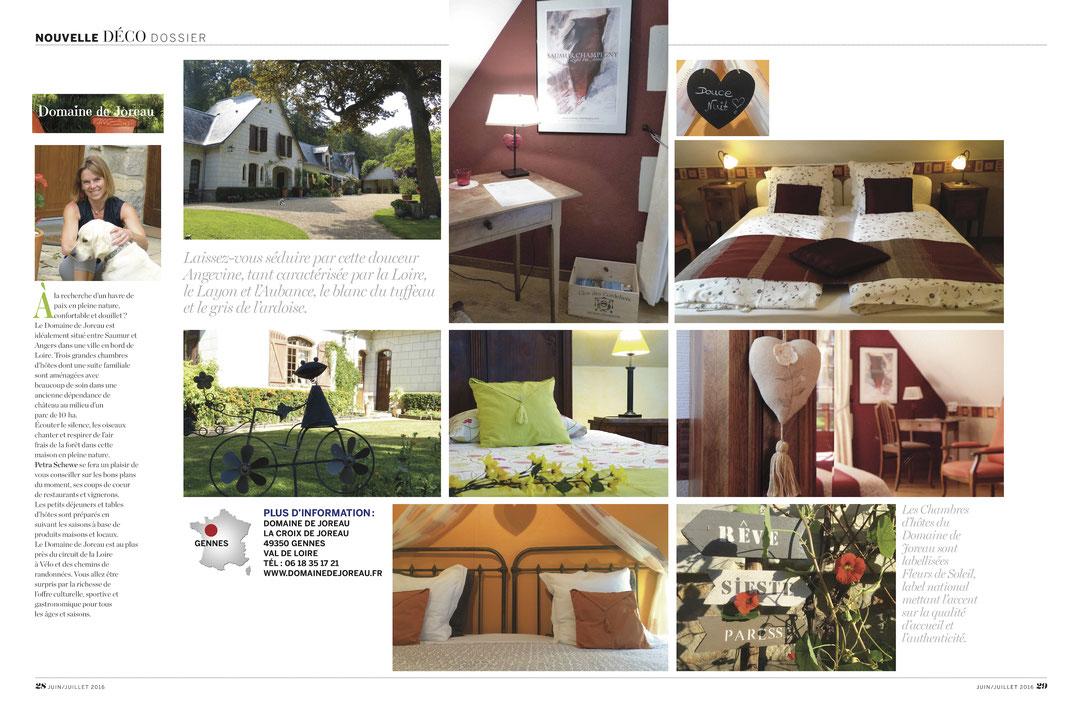 Chambres et tables d'hôtes Domaine de Joreau à Gennes est sélectionné pour sa décoration et son charme parmi les plus belles chambres d'hôtes en France