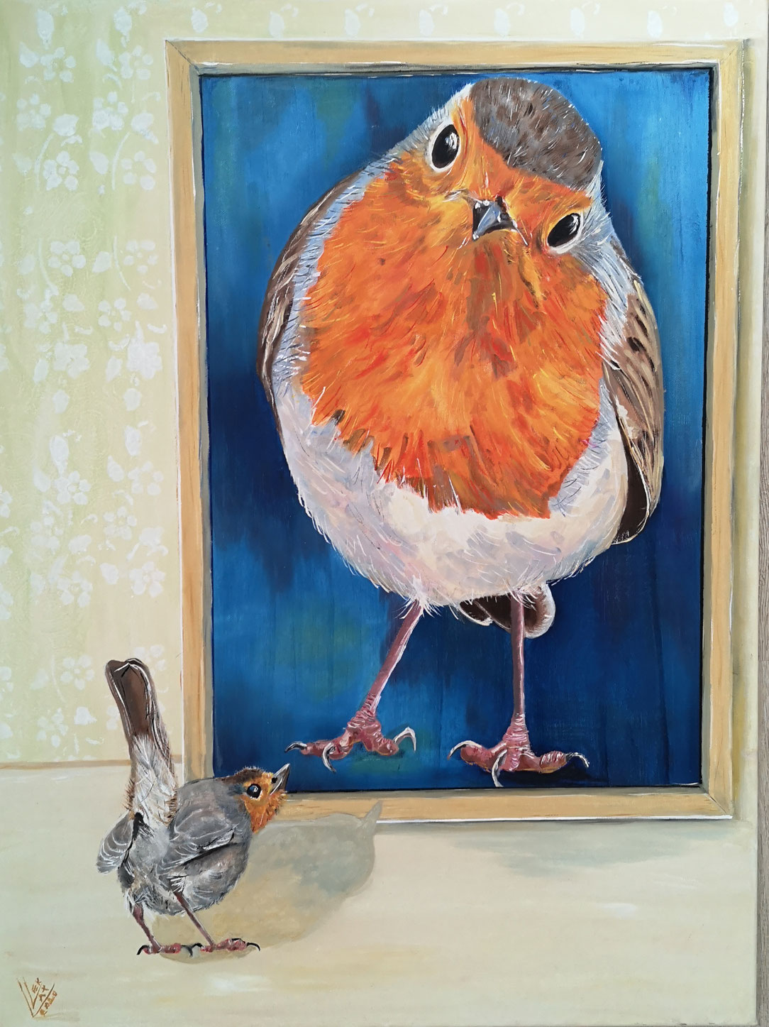 """Giant robin """"Who is looking to who""""120x80 cm"""