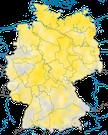 Karte zum Brutvorkommen des Feldschwirls (Locustella naevia) in Deutschland.
