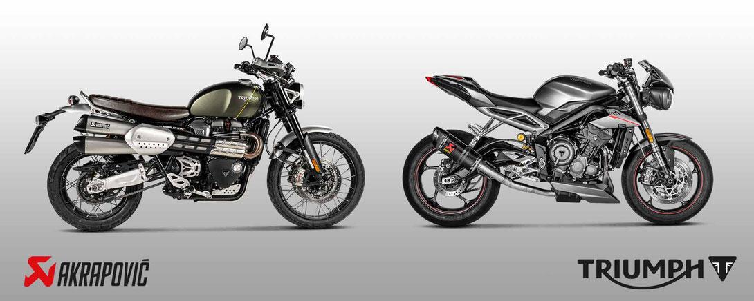 Customizing und Tuning mit Akrapovic Auspuff für Triumph Motorräder