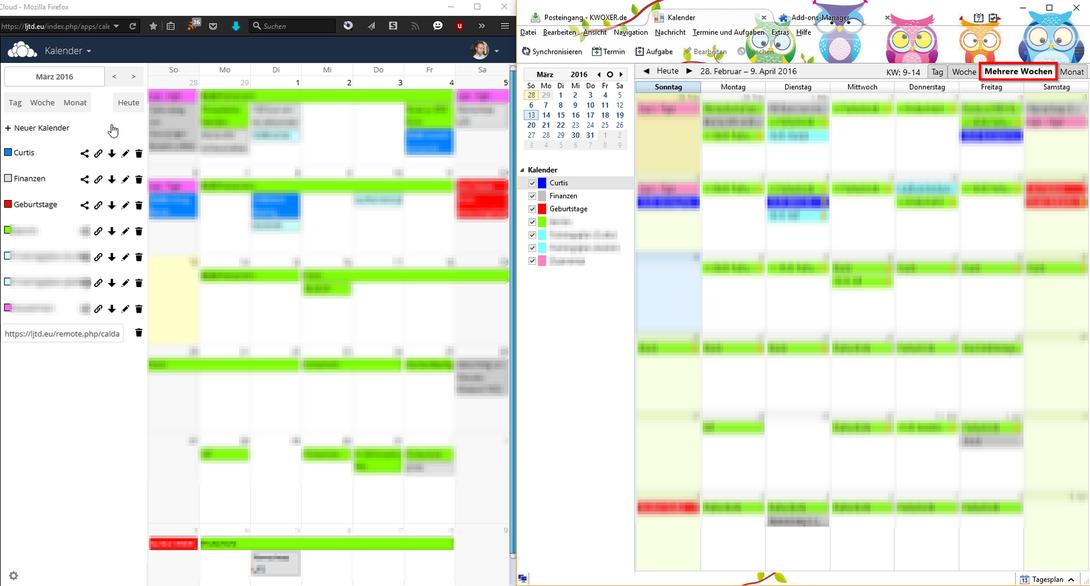 Kalender Ansichten im Vergleich