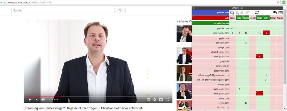 Christian Solmecke auf YouTube mit uMatrix