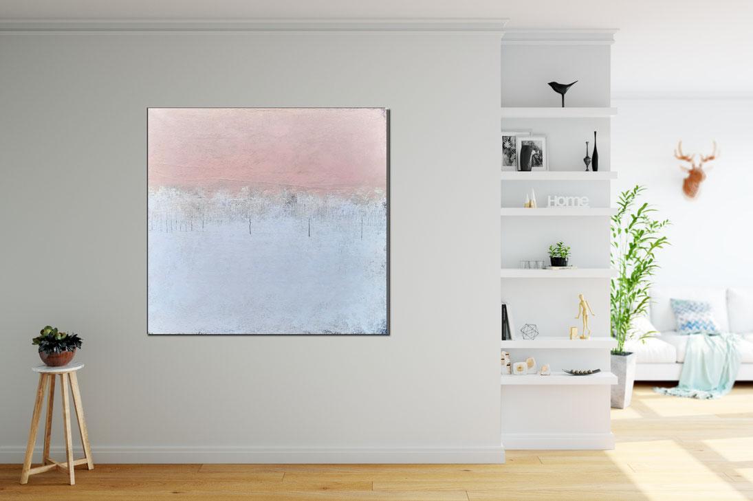 100 x 100 cm Bild mit Weiss und Altrosa
