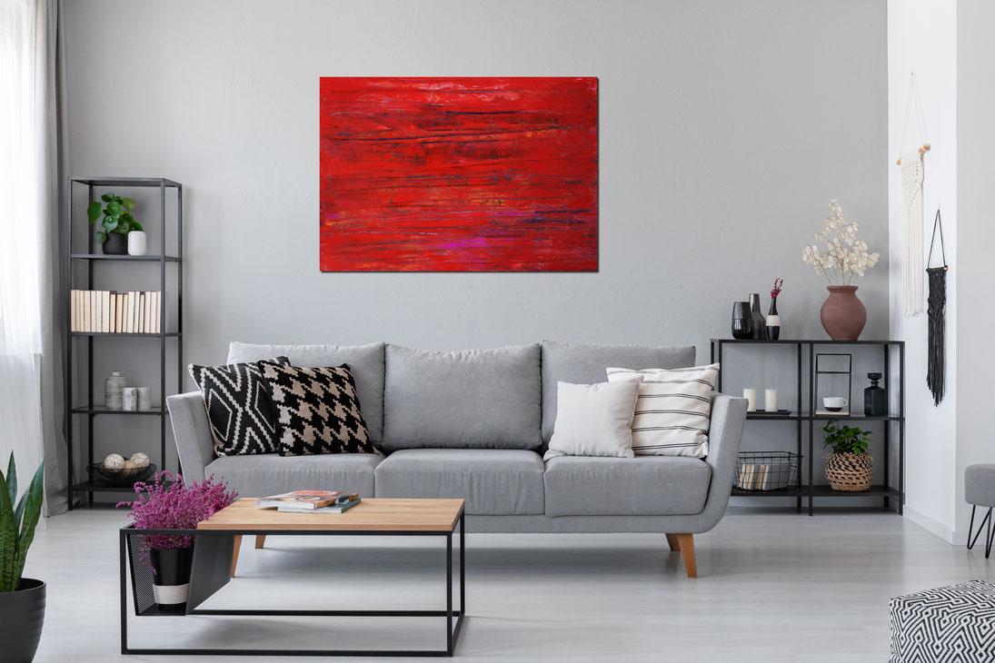 100 x 120 cm Bild mit Rot