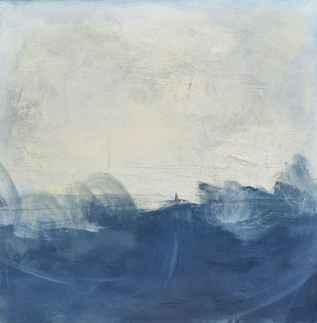 Stürmische Zeiten - blau weisses Gemälde