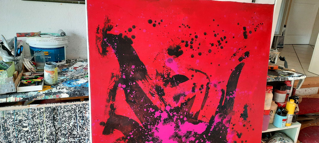 Landschaftsbild - rot lila pink schwarz- Unikat