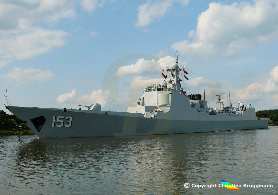 Der chinesicher Zerstörer XI AN 153 bei der Passage der Nord-Ostsee-Kanals, 01.08.2019