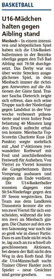 Bericht im Miesbacher Merkur am 12.12.2019 - Zum Vergrößern klicken