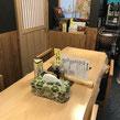 お蕎麦屋さんのテーブルに置いたティッシュボックスカバー