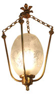 Pendant Hanging Light Lamp French Etched Frosted Glass Art Deco Lantern Brass