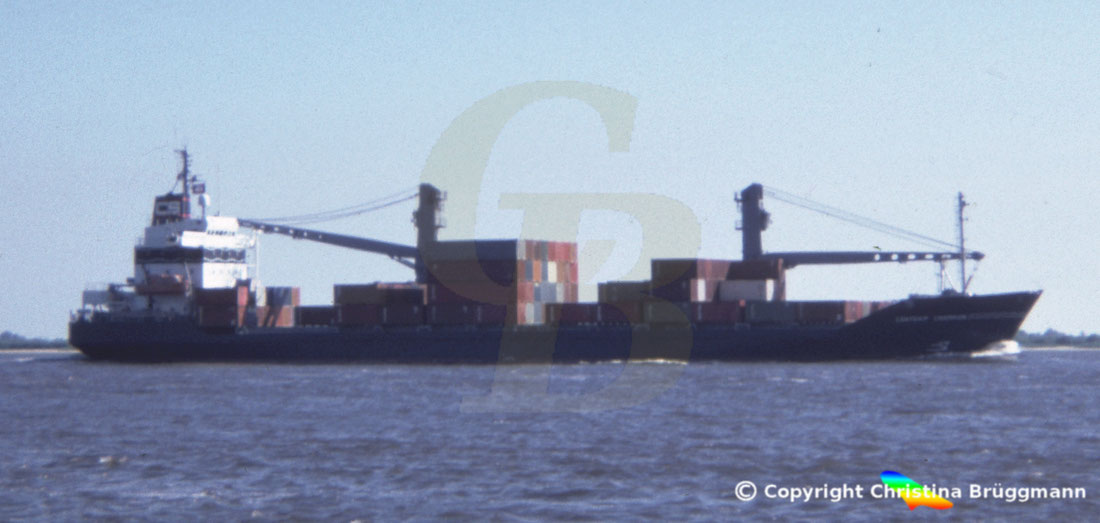 Containerschiff CONTSHIP CHAMPION, Elbe 1985