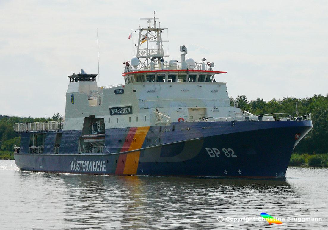 Das neue Einsatzschiff der Bundespolizei, die  BAMBERG (BP82),