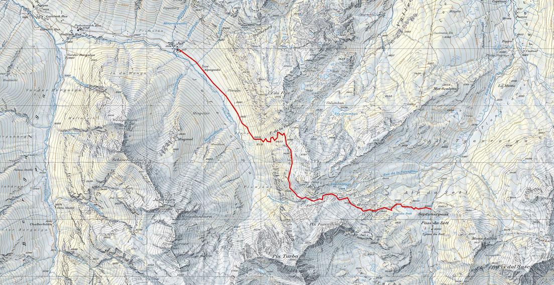 Die Wanderung von Juf zum Septimerpass (Distanz: 5.5 km, Höhendifferenz, ca. 600m) führt mitten hinein in die ehemaligen Ozeanbodengesteine der Platta Decke.