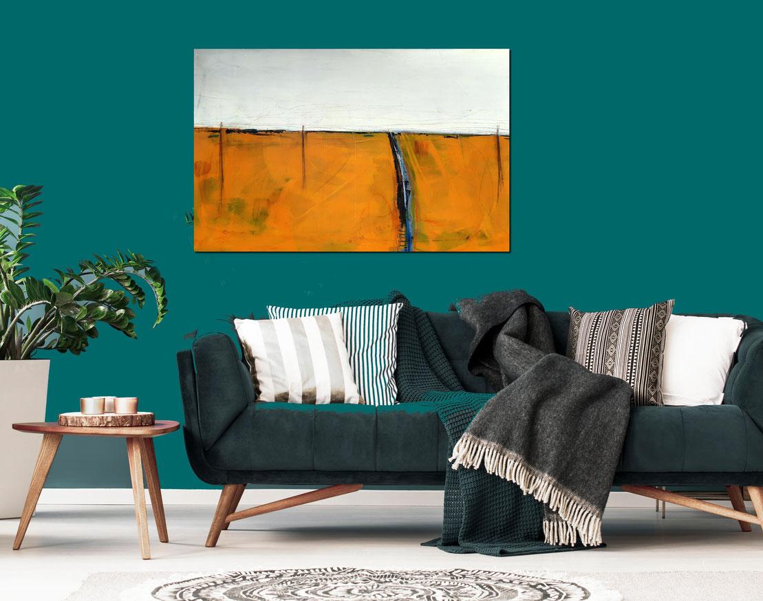 orange  abstrakte Bilder im Flur Wohnzimmer Büro